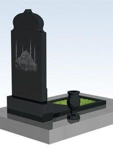 Мусульманский памятник - гранит черный 100 х 50 см